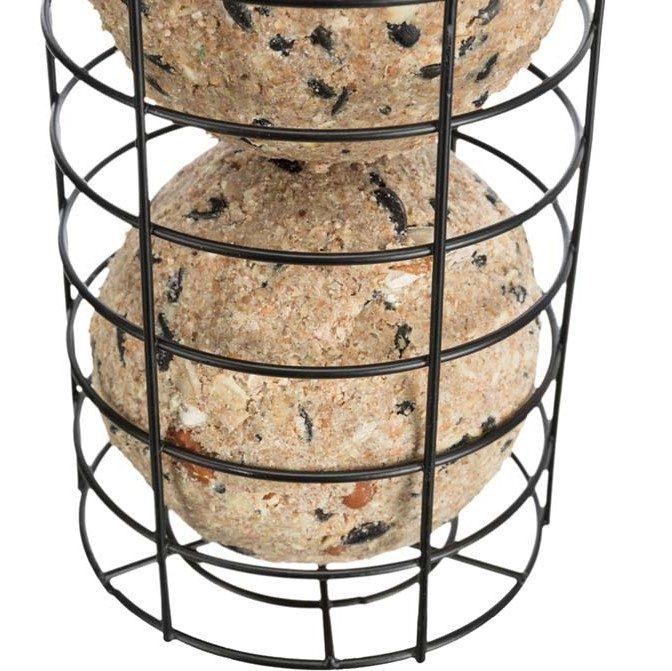Villfuglmater meiseboller 2store med tak, metall, ø 11 × 20 cm, svart