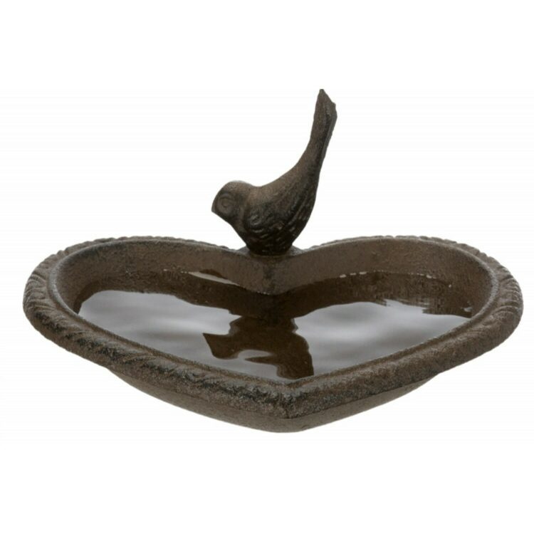 Utefugl fuglebad-vannskål-matskål hjerte 250ml 16x15cm brunt jern